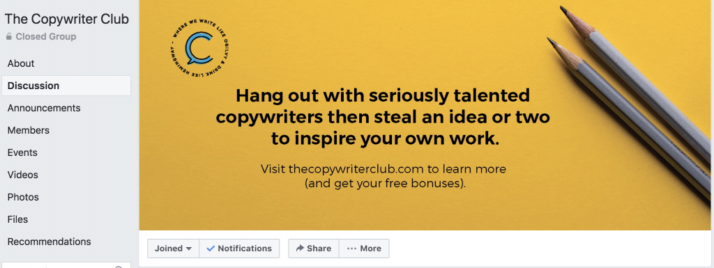 Copy Club FB Group